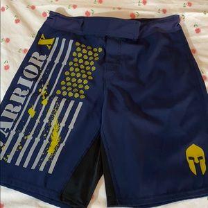 Men's Warrior Gear blue and mustard yellow shorts